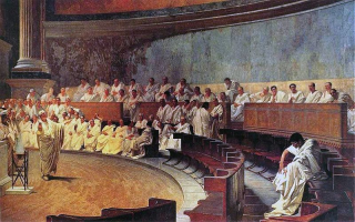 Cicero Denounces Catiline, fresco by Cesare Maccari