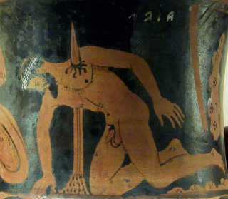 The suicide of Ajax the Great. Etrurian red-figured calyx-krater, ca. 400–350 BC. Said to be from Vulci. Wikimedia Commons