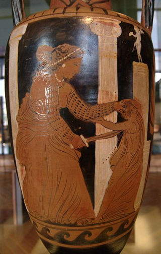 Medea killing one of her sons. Side A from a Campanian (Capouan) red-figure neck-amphora, ca. 330 BC. From Cumae.