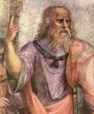 Plato bearing the Timaeus - a detail from Raphael's School of Athens - via Wikimedia Commons.