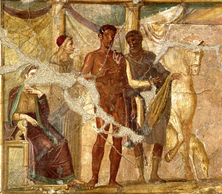 Hippolytus and Phaedra, fresco from Pompeii. Photo by Wmpearl.
