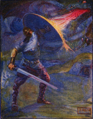 Beowulf fighting the Dragon. Marshall, Henrietta Elizabeth (1908) Stories of Beowulf, T.C. & E.C. Jack. Via Wikimedia Commons.