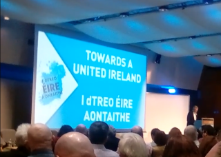 Gerry Adams addresses the conference.