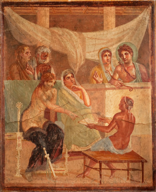 Alcestis and Admetus, ancient Roman fresco (45-79 d.C.) from the House of the Tragic Poet, Pompeii, Italy