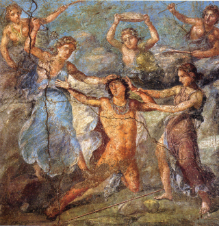 Pentheus being torn by maenads. Casa dei Vettii. Via Wikimedia Commons.
