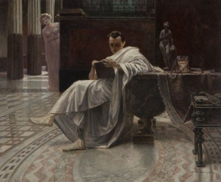 Petronius at Home, by Piotr Stachiewicz (1858-1938)